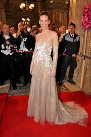 Hilary Swank was the picture of elegance in this beaded nude gown at the Opernball.