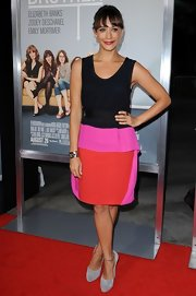 Rashida Jones paired her color-block frock with a pair of unexpected chunky gray suede pumps at the premiere of 'Our Idiot Brother.'
