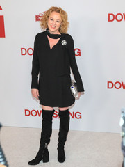 Virginia Madsen kept her legs warm in black over-the-knee boots.
