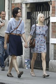 Peaches Geldof wore a lilac floral dress while out with her fiance.