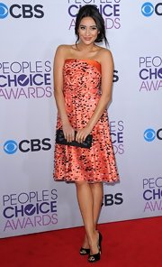 Shay Mitchell was so cute in this speckled tangerine cocktail dress at the People's Choice Awards.