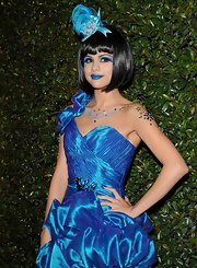 Selena Gomez went head-to-toe blue to Perez Hilton's Birthday Celebration. Her fantasy makeup and costume were fantastic.
