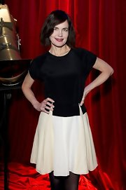 Elizabeth McGovern's black-and-white cocktail dress had a chic vintage feel.