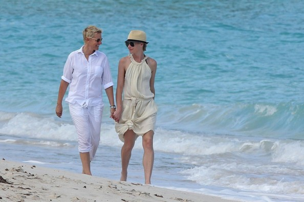 Degeneres in a bathing suit and portia de rossi in a bikini in mexi
