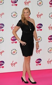 Petra Kvitova looked ultra sophisticated at the pre-Wimbledon party in a one-shoulder LBD with a scalloped hem.