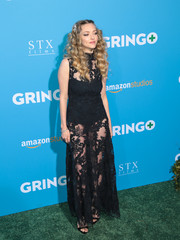 Amanda Seyfried worked the sheer trend in a black lace gown by H&M at the premiere of 'Gringo.'