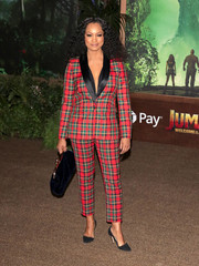 Garcelle Beauvais rocked a season-appropriate plaid pantsuit at the premiere of 'Jumanji: Welcome to the Jungle.'