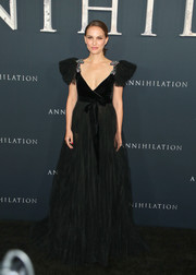 Natalie Portman was a goth princess in this black tulle and velvet gown by Valentino at the premiere of 'Annihilation.'