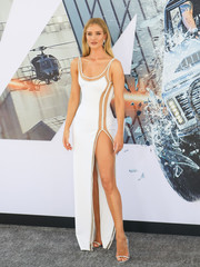 Rosie Huntington-Whiteley looked va-va-voom in a white illusion-panel gown by Atelier Versace at the premiere of 'Fast & Furious Presents: Hobbs & Shaw.'