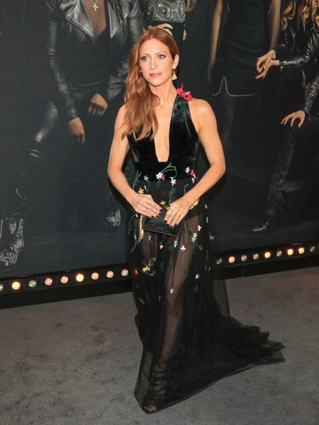 Brittany Snow looked seductive in a Monique Lhuillier floral-embroidered gown with a see-through skirt at the premiere of 'Pitch Perfect 3.'