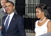 Michelle Obama sported a glamorous half-up half-down 'do at the Downing Street dinner for G20 delegates.