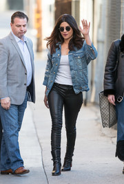 Priyanka Chopra went grunge-chic in a distressed denim jacket for her visit to 'Kimmel.'