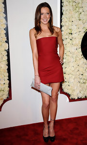 Katie Cassidy complemented her mini dress with platform pumps.