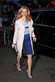 Rachel McAdams wore a striped dress in beautiful blues for her appearance on 'Good Morning America.'