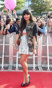 Star print platform pumps finished off Jameela Jamil's fun ensemble at Radio 1's Teen Awards in London.