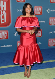 Taraji P. Henson went ultra feminine in a red off-the-shoulder dress by Carolina Herrera at the premiere of 'Ralph Breaks the Internet.'