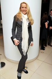 Jerry Hall wore a white gauzy scarf with a wool suit for the 'Nutcracker' reception.