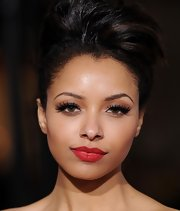 Katerina Graham opted for high drama at the premiere of 'Red Riding Hood.' She contrasted her lush lashes with matte red lipstick.