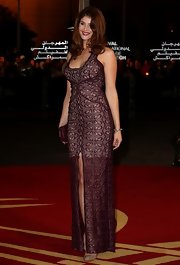 Gemma's burgundy overlay dress gave a glimpse of her legs at the Marrakesh Film Festival.