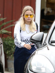 Ava Phillippe was spotted out wearing a racing-inspired sweatshirt.