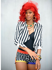 While shooting a video on the streets of New York, Rihanna showed off her fiery red locks.