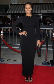 Keri stuck to a monochromatic look when she chose a sleek long-sleeve black gown.