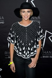 Lydia Bright's hippie-inspired look was super cool with this black and white embroidered blouse.