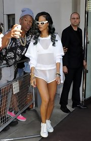 Rihanna rocked a monochromatic, which included these mesh shorts, look while out in London.
