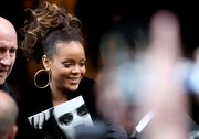 Rihanna looked adorable wearing a bouncy ponytail while enroute to a performance in Paris