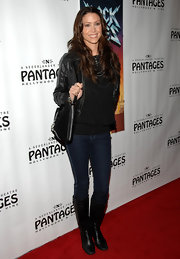 Shannon Elizabeth donned black leather knee high boots to the 'Rock of Ages' premiere.