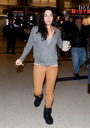 Michelle Rodriguez jetted into LAX wearing chunky black boots and leather pants.