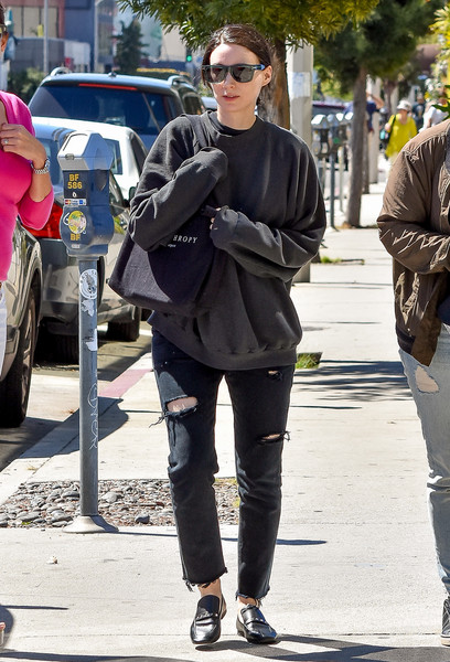 Rooney Mara dressed down in a loose black sweater for a day out in LA.