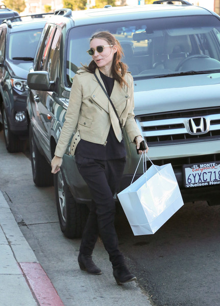 Rooney Mara was moto-chic in a beige leather jacket while shopping in West Hollywood.