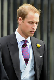 Prince William wore a magenta and blue tie with his three piece suit for the Nicholas Van Cutsem and Alice Haddon Patton wedding.