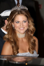 Princess Madeleine wore a diamond-encrusted tiara as she attended the Royal Wedding dinner at the Opera Terraces.