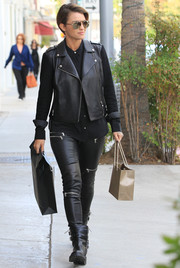Ruby Rose went shopping in Beverly Hills rocking a black leather biker jacket.