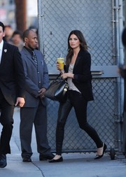 Lily Aldridge stopped by 'Jimmy Kimmel Live' looking smart in a black blazer and leather skinnies.