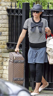 Sadie Frost was spotted in London wearing an adorable black-and-white striped crewneck sweater with an oversized bow.