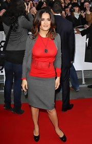 Salma Hayek topped off her red carpet ensemble with black patent leather platform pumps.