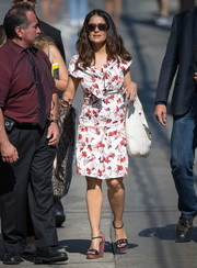 Salma Hayek was vintage-chic in a tie-neck print dress by Gucci while headed to 'Kimmel.'
