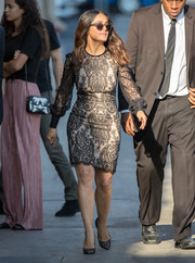 Salma Hayek kept it timeless in a little black lace dress by Alexander McQueen during her appearance on 'Kimmel.'