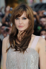 Angelina Jolie showed off her long hairstyle and blunt cut bangs.