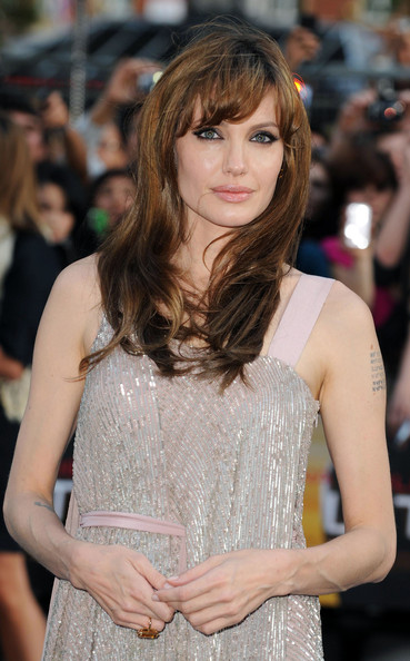 More Pics of Angelina Jolie Long Straight Cut with Bangs (3 of 8) - Angelina Jolie Lookbook - StyleBistro