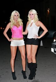 Karissa Shannon flashed plenty of leg in a pair of white short shorts while out clubbing.