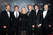 Olivia Newton-John posed with co-actors wearing a classic LBD at the Samsung AACTA Awards.