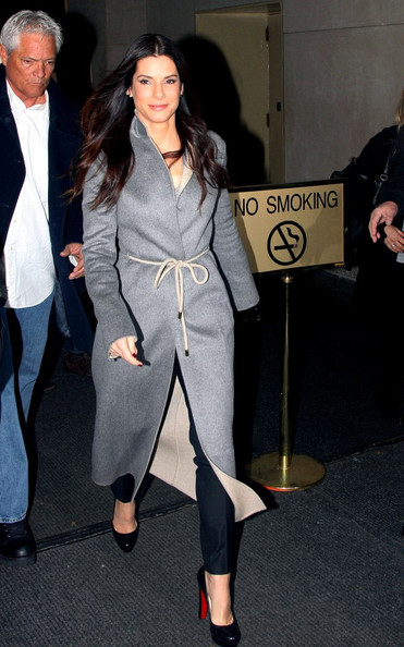 Sandra Bullock Wool Coat