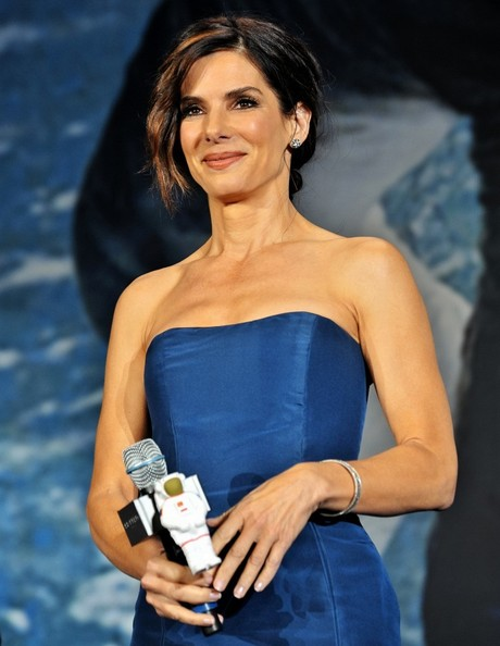 More Pics of Sandra Bullock Chignon (1 of 11) - Updos Lookbook - StyleBistro
