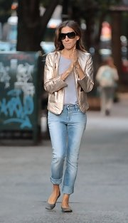 SJP worked the season's metallic trend in this ultra-shiny bomber.