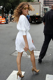 "SJP rocking some awesome limited edition ""FRANZ"" gold aviators."