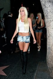Karissa Shannon was sexy as always in a white crop top and super short jean shorts during a party in Hollywood.